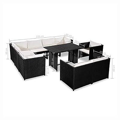 HEATAPPLY Outdoor Furniture Set, 9 Piece Garden Lounge Set with Cushions Poly Rattan Black