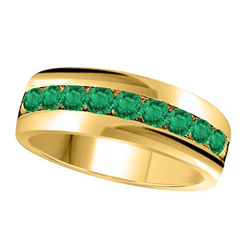 (6MM Channel Set 1.00 Ct Round Shape Brilliant Cut Lab Created Green Emerald Single Row Fancy Men's Wedding Band Ring in 14K Yellow Gold Fn Alloy)