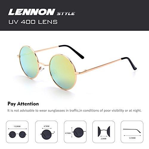 soleil inspirées Or métallique CGID cercle 47mm du lunettes rond polarisées en Lennon de E01 vintage retro Orange style qXa1wtS