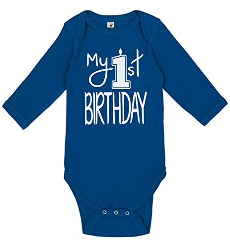 - Reaxion Aiden's Corner Handmade 1st Birthday Baby Clothes - Baby Boy My First Birthday Bodysuits & Shirts (18 Months, Candle White Royal LS)