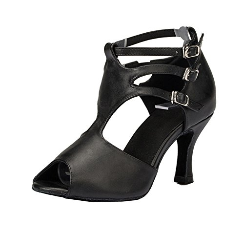 Dance Ballroom Strap TH057 Ladies Leather Sandals Black Wedding Latin Buckle MINITOO T Taogo HZv0txqH