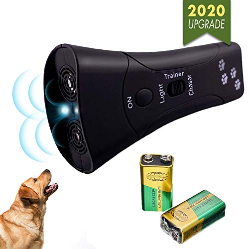 Handheld Dog Repellent and Anti Barking Control Device – Effective Ultrasonic Dog Bark Deterrent – Safe and Humane Bark Stopper and Dogs Repeller – Good Behavior Pet Training – 2019 Upgrade Version