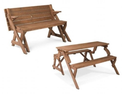 Leisure Season Folding Picnic Table and Bench, Solid Wood, Decay Resistant FPTB7104