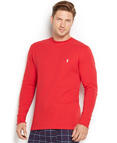 (Polo Ralph Lauren Mens Thermal Sleep Shirt Waffle Knit (M, Red))