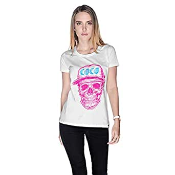 Creo Pink Blue Coco Skull T-Shirt For Women - S, White