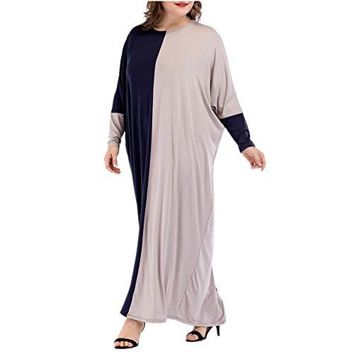 隣接溶岩やろうバットウィング袖プラス サイズ ファッション女性コントラスト色カフタン ガウン アラビア語無料サイズのマキシドレス