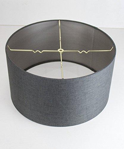 HomeConcept 18x18x10 Granite Grey Burlap Shallow Drum Lampsh