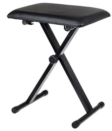 Black Adjustable Piano Keyboard Bench Leather Padded Seat Folding Stool Chair by kwanchan