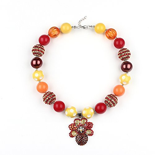 Wxbox Girls Thanksgiving Day Turkey Pendant Necklace Kids Party Chunky Bubblegum Beaded Necklace
