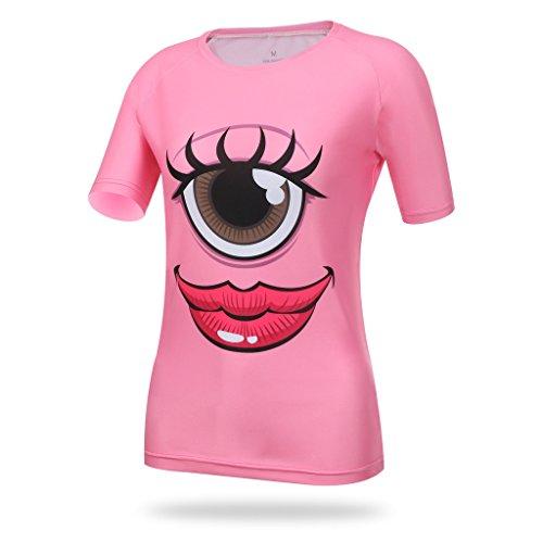 Spoz Women Big Eye Sexy Lip Gym Sportwear Tshirt M