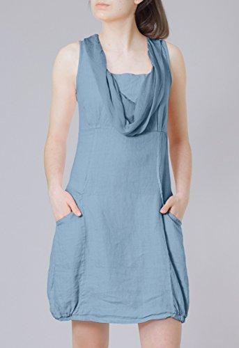 Damen mit Leinen Jeans Sommerkleid leichtes aus viele Seidenkragen CASPAR elegantes Blau SKL002 Farben TYxdqwXTZ