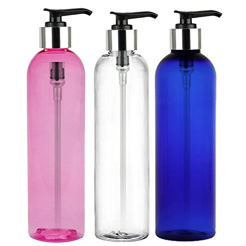 MoYo Natural Labs 8 oz Pump Dispenser, Empty Soap and Lotion Bottles with Locking Cap, BPA Free PET Plastic Containers for Essential Oils/Liquids (3 Pack, Pink, White, Blue) (Soap Dispenser Pump Head)