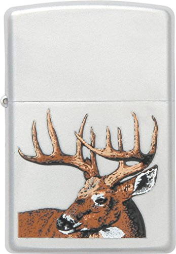 Zippo Lighters 23481 Whitetail Buck Deer Logo Zippo Lighter with Satin Chrome Finish (Mountain Zippo Rocky)