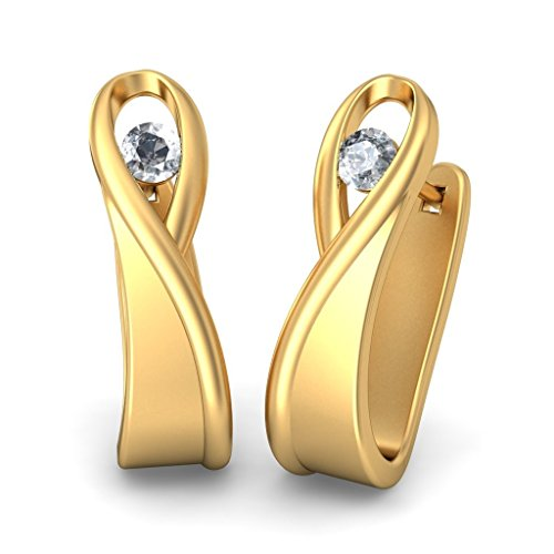 14 K Or jaune 0.08 CT TW White-diamond (IJ | SI) Boucles d'oreilles créoles