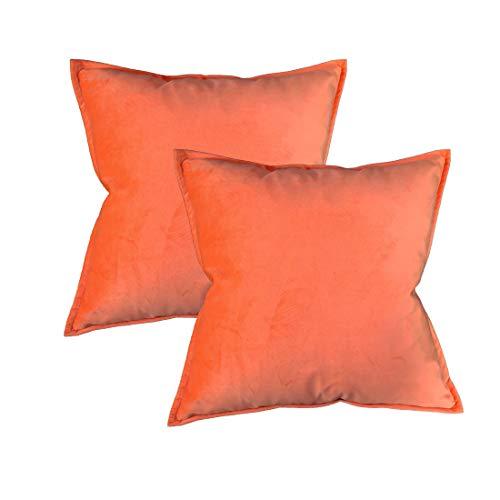 Original Pro Pack of 2 Decorative Throw Pillow Covers, Velvet Soft Soild Square Pillow Cover Throw Cushion Case Decorative Pillowcase for Sofa Bedroom Car 18 x 18 Inch Orange