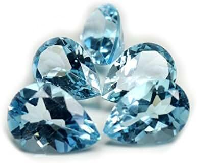 55Carat Natural Pear 27 Ct Blue Topaz Loose Gemstone Lots 5 Pcs