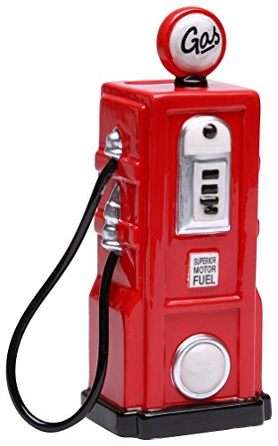 StealStreet SS-CG-62519, 6.25 Inch Ceramic Painted Red Old Fashion Gas Pump Money Piggy Bank ()