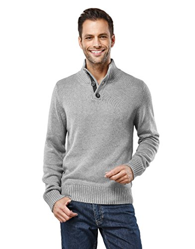 Vincenzo Boretti Men's Sweater Troyer Chunky Knit Ribbed Turtle-Neck Grey X-Large