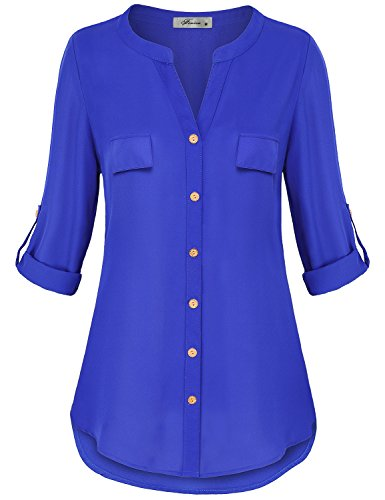 Sleeve Tab 3/4 (Finice LongSleeveBlousesforWomen, Ladies Tops Plunge V Neck 3/4 Tab Sleeve Button Up Flowy Swing Chiffon Tunic Vintage T Shirt Business Casual Clothing Royal Blue M)