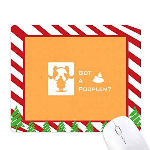 Fierce Boston Terrier Poop Problem Mouse Pad Candy Cane Rubber Pad Christmas Mat ()