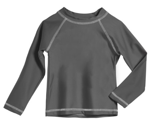 Baby Boys' and Girls' Solid Rashguard Swimming Tee Shirt Rash Guard SPF Sun Protection for Summer Beach Pool and Play, L/S Medium Gray, 12-18 mon. ()