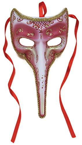 Loftus International Masquerade Venetian Long Nose Half Mask, Rose Red W Gold Accents, 9