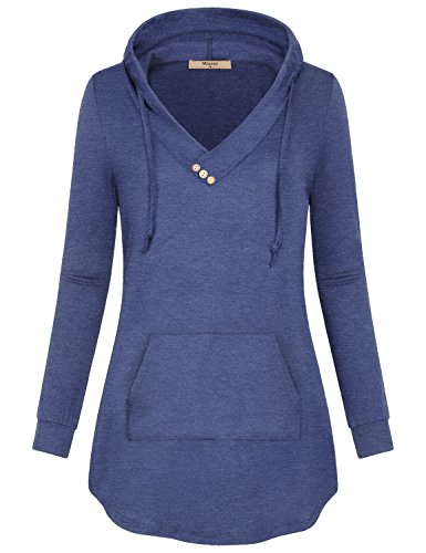 Miusey Vneck Tshirt, Comfy Womens Sweaters Casual Tops Loose Fitted Drawstring Baggy Plain Pullover Hoodie Blue Grey XX-Large