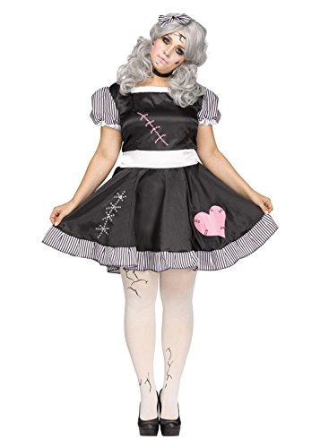 Fun World Women's Plus Size Broken Doll Costume, Multi, -