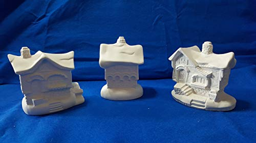 (Santa Village Set of 3 Houses House unpainted ceramic bisque ready to be painted Christmas Village)