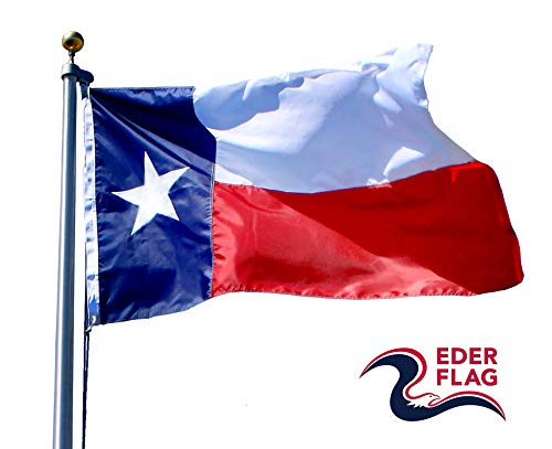 (Eder Flag – Poly-Max Texas State Flag - Proudly Made in The USA - Extremely Durable - Reinforced Fly Stitching - Heavy-Duty Duck Cloth Headers - Quality Craftsmanship (5x8 Foot))