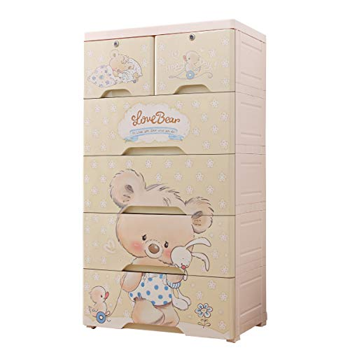 Nafenai Plastic Drawers Dresser,Storage Cabinet with 6 Drawers,Large Tall Dresser Closet Drawers Organizer for Clothes,Bedroom,Playroom,Cute,Khaki