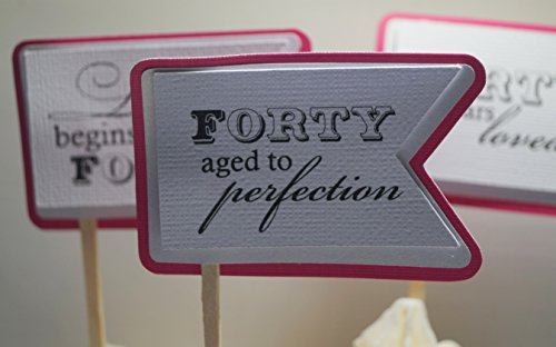 All About Details Taffy Pink 40th Birthday Quotes Cupcake Toppers, Set of 12