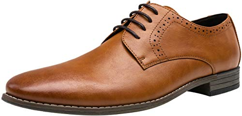 JOUSEN Men's Oxford Plain Toe Dress Shoes Classic Formal Derby Shoes(11,Brown)