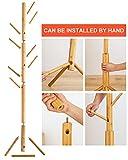 BMOSU Coat Rack freestanding Stand Bamboo Wooden 8