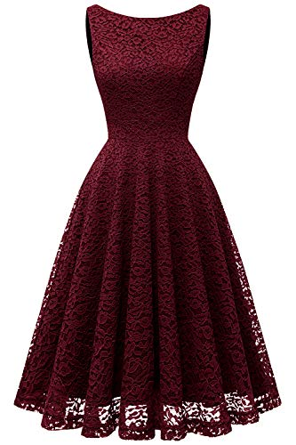 - Bbonlinedress Women's Short Floral Lace Bridesmaid Dress V-Back Sleeveless Formal Cocktail Party Dress Burgundy XL