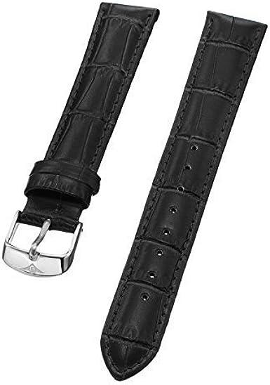 Stuhrling Original Ladies 18mm Correa para reloj de piel de color negro con hebilla de acero st. 107BL. 12152