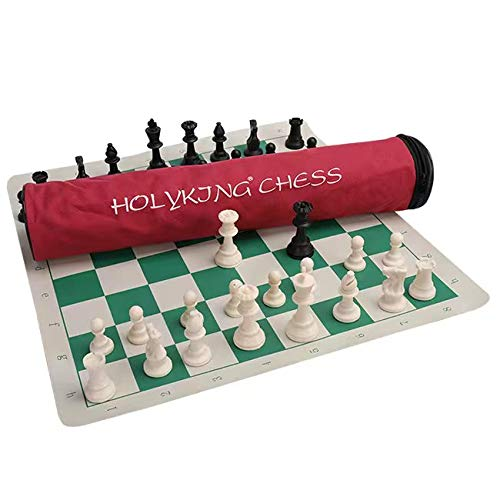 (HOLYKING Best Value Tournament Chess Set - 90% Plastic Filled Chess Pieces and Green Roll-up Vinyl Chess Board)