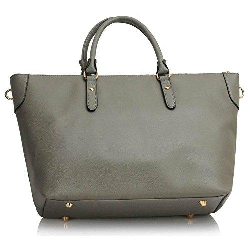 TrendStar Mujeres Bolsas De Créateurs hombro de patente bolsos de damas de moda Fourre Tout F - Grey