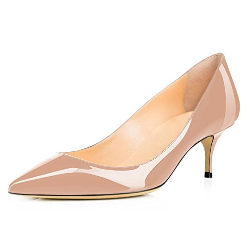 MERUMOTE Women's Fashion Slip on Middle Heels Pumps Shoes Pointed Toe for Daily Usual Walk Pumps Patent Nude qgzeL6
