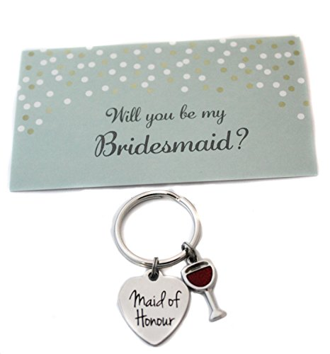 Heart Projects Stainless Steel Maid of Honour Wine Glass Charm Keychain Bag Charm Bridesmaid Proposal Gift by Heart Projects