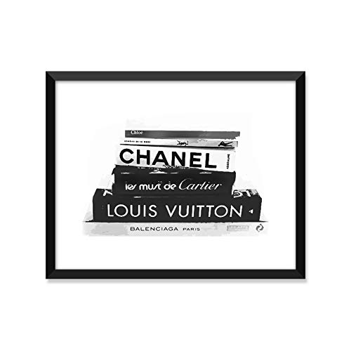 (Fashion Books - Louis Vuitton, Chanel, YSL, Cartier, Balenciaga, Chloe - Unframed art print poster or greeting card)