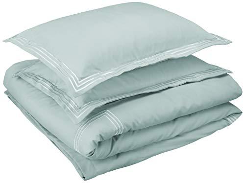 AmazonBasics Premium Embroidered Hotel Stitch Duvet Cover Set - King, Seafoam Green (Duvet White Cover And Green)