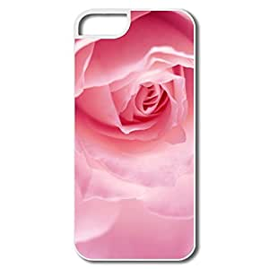IPhone 5/5S Hard Plastic Cases, Light Pink Rose Macro White Cases For IPhone 5S