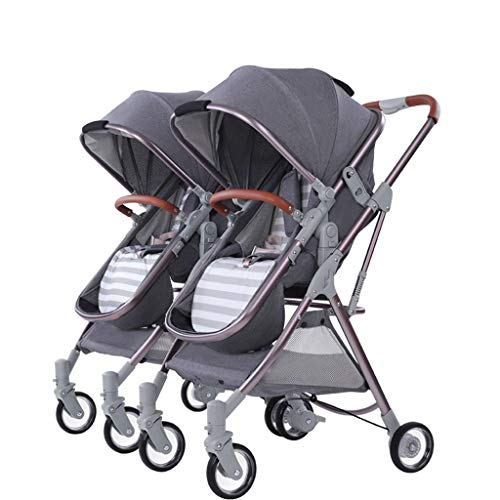 Mjd Stroller Two-Way Ultra-Light Folding high Landscape can sit Lie Child Newborn Child Baby Twin Shock Absorption wear Trolley Baby Trolley (Color : Black)]()