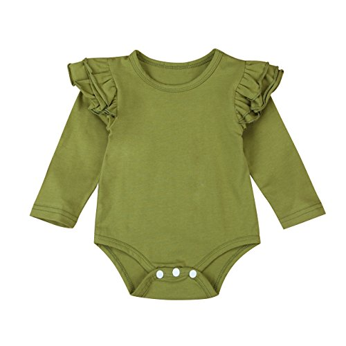 Infant Baby Girl Basic Ruffle Long Sleeve Cotton Romper Bodysuit Tops Clothes (Green, 18-24 Months) -