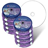 Verbatim DVD Double Couche DVD+R DL 8.5 Go / 240 min 8x, Full printable White No ID, 200 pièces en cloche de 25