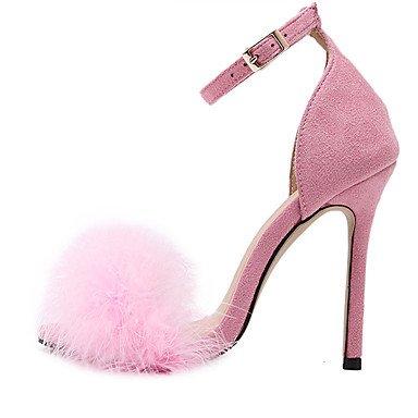 LvYuan Mujer-Tacón Stiletto-Otro-Sandalias-Vestido-Tejido-Negro Rosa Bermellón Almendra Pink