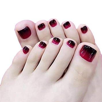 Amazon.com : 24pcs Black and Red Fake Toe Nail Tips Short Square ...