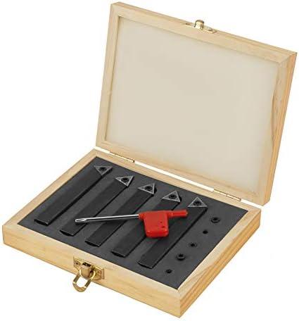 Drehmeißel, 5 Stücke 1/2 inch Wendeplatten-Drehmeißel Hartmetall-Drehmeiße Set Drehwerkzeuge Kit mit Box