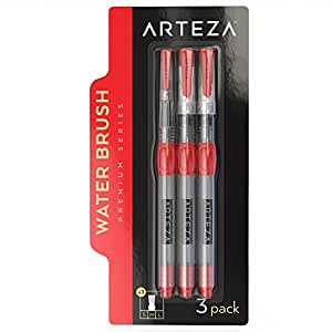 Arteza Water Brush Pens - Self-moistening - Portable (Broad Tips, Set of 3)